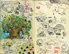 more moleskine (jimbradshaw) Tags: art moleskine pencil mixed media cartoon sketchbook doodle characters draw jimbradshaw