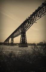 DSC01366adj Old-Fashioned Poughkeepsie Railroad Bridge (ftoomschb - I block industrial-strength followers) Tags: county railroad bridge ny newyork ice train angle dusk sony poughkeepsie highland valley hudsonriver alpha dslr dutchess oldfashioned ulster a700