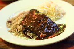 jerk salmon (Geoff Peters 604) Tags: street food canada vancouver lowlight bc rice sauce main salmon restaurants caribbean spicy