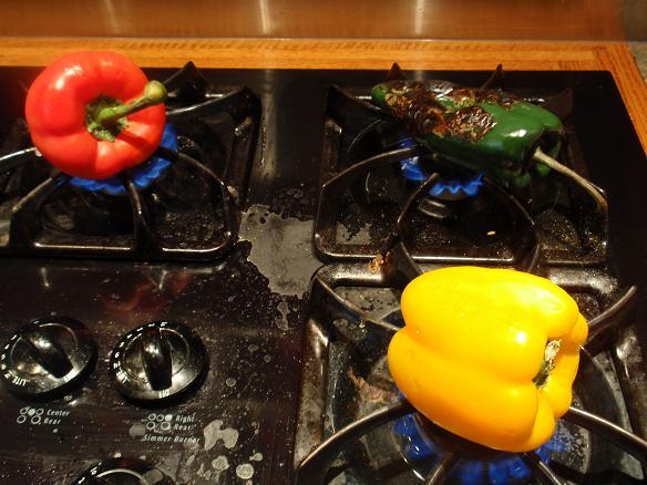 roasting the peppers