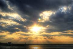 Beyond (paradiso76) Tags: light sunset sky sun ny newyork colors statue brooklyn clouds liberty high nikon dynamic dramatic promenade hudson rays range hdr 4xp d40x pfogold nikkor35mmf18g