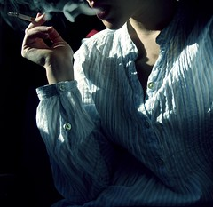 fumo blu (giulia dF) Tags: blue girl neck afternoon cigarette smoke lips camicia azzurro giulia pomeriggio fumoblu portraitworld
