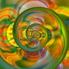 Droste Me Out (Ate My Crayons) Tags: light orange abstract green art glass digital computer spiral gold design abstractart spin digitalart gimp computerart amc thegimp droste glassart mathmap cmwdgreen colourartaward artlegacy