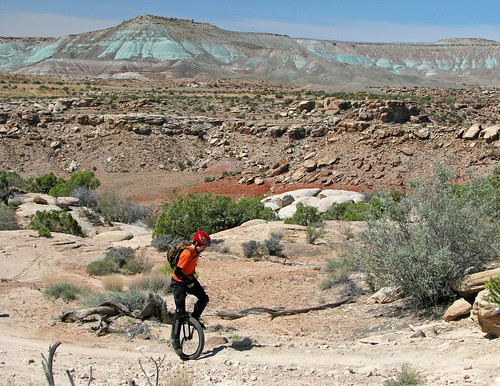 Kevin climbing on Sovereign Trail, Moab, Utah