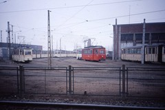 Straßenbahn Betriebshof.Rostock Tram Depot DDR,   Jan 1990