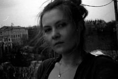 mrcz-rollei_21 (mariczka) Tags: blackandwhite bw selfportrait cold film me girl face analog grey noir balcony rangefinder vintagecamera 40mm blanc blancinegre kharkiv f23 rolleixf35 audel mariczka vintageanalogue brzsflat