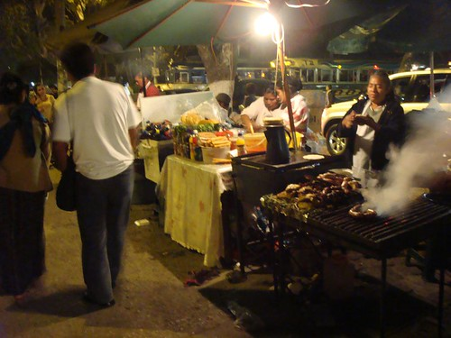 Food stalls at night. Antigua, Guatemala.