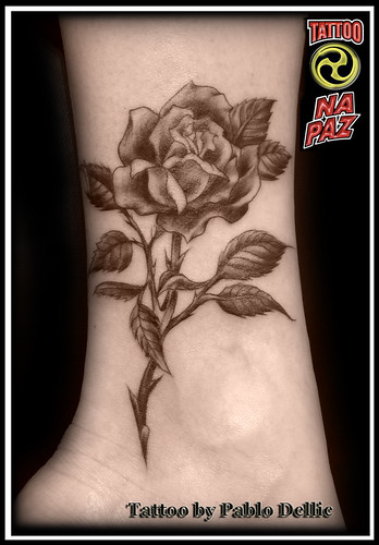 Black Rose Tattoo by Pablo Dellic
