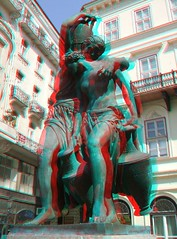 """anaglyph - sculpture """"The Danaides"""" Budapest, Szomory Square (Pozor Vlak) Tags: plaza city travel sculpture woman art girl statue bronze nude square greek 3d couple europe hungary budapest cu"""