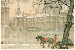 Anton Pieck (Julka2009...(mostly off)) Tags: windows sky horse snow man tree art water birds vintage boat pastel gulls postcards binnenhof antonpieck torentje thehaque