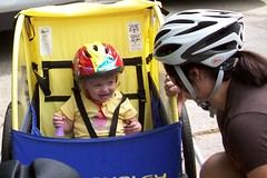 Catie going for a ride in the bike trailer