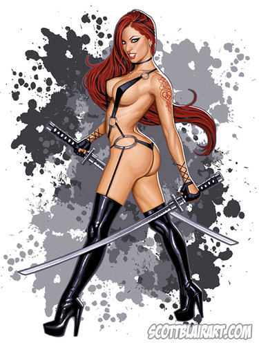 sexy tattoo artwork boots fantasy blair samurai katana swords pinup