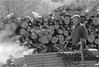 Lukashenko in action (Magnus Bergström) Tags: blackandwhite bw white man black film analog 35mm geotagged fire blackwhite sweden timber 135 canonae1 geotag 2009 kodaktmax400 cleaver värmland ekshärad lukashenko hagfors 400tmy janber01