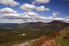 Glenmore Forest (Martin Third) Tags: uk trees sky mountains weather clouds forest scotland europe view britishisles unitedkingdom britain bluesky hills highland cumulus cairngorm glenmore cairngormnationalpark cumulusclouds glenmoreforestpark canoneos50d