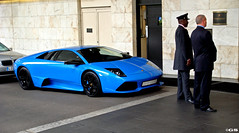 Blue LP640 (Germanspotter) Tags: auto street uk blue summer england italy london car hotel crazy italian sommer sony cybershot spot blau 2008 lamborghini rare find supercar sportscar wagen sportwagen lp640 carparazzi germanspotter