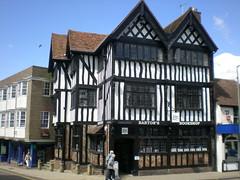Timber framed (tedesco57) Tags: uk england house corner timber framed surrey half bookshop timbered leatherhead bartons