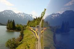 Which way should we go? (LieselRose) Tags: reflection alaska train landscape rail anchorage seward alaskarailroad coastalexpress flickrchallengegroup flickrchallengewinner reflectionontrain