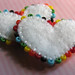 Tiny Embroidered and Beaded Heart Beads