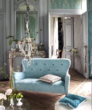 Modern fabric: Romantic French living room + duck egg velvet sofa + damask wallpaper
