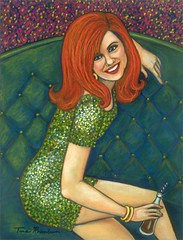 Girl in the Green Dress (Tina's Art) Tags: pink flowers red orange woman green art smile sisters dancing parties greeneyes clubs cocacola lipstick pubs tinas nightclubs redheads girlfriends stpatricksday hotpink greendress partygirl therealthing partygirls irishgirls womenartists womeninart newyorkartist paintingsofwomen texasartist tinasart tinarosenbaum girlswithredhair tinanationsrosenbaum rosetreearts tinalynnerosenbaum paintingsofgirlswithredhair
