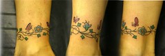 custom ankle band tattoo (johnny gage) Tags: flowers flower color colour girl leaves tattoo ink butterfly leaf wings vines skin leg wing vine tattoos coloured shaded tattooed florish florishes