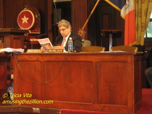 Councilman Domenic Recchia Reading Save Coney Island Brochure at City Council Hearing.  Photo © Tricia Vita/me-myself-i via flickr