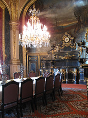 Paris (russelljsmith) Tags: city travel vacation holiday paris france table europe chairs louvre weekend room rich chandelier fancy dining 2009 opulent thelouvre candelabras 77285mm