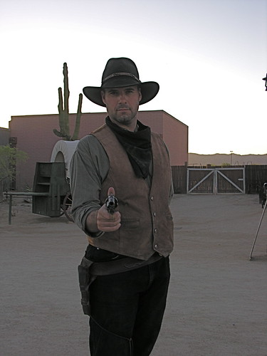 Dutch greets a visitor at Rawhide