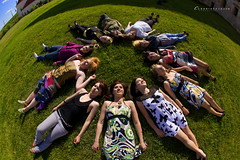 Shiny Happy People - no worries whatsoever - the girls in this one. boys coming next ;) (claudiaveja) Tags: world summer people sun green girl grass circle lens fun happy photography funny shiny view earth stock young teenagers images fisheye around concept elevated transylvania 15mm cluj royaltyfree rightsmanaged claudiaveja ontheearth rightmanaged allmodelreleased