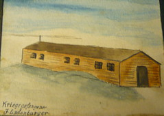 Painting by a German POW in Jersey of his Accommodation Hut