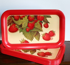 1950s strawberry trays (tracinicole) Tags: strawberry etsy retrokitchen vintagetray metaltray retrotray tracinicole