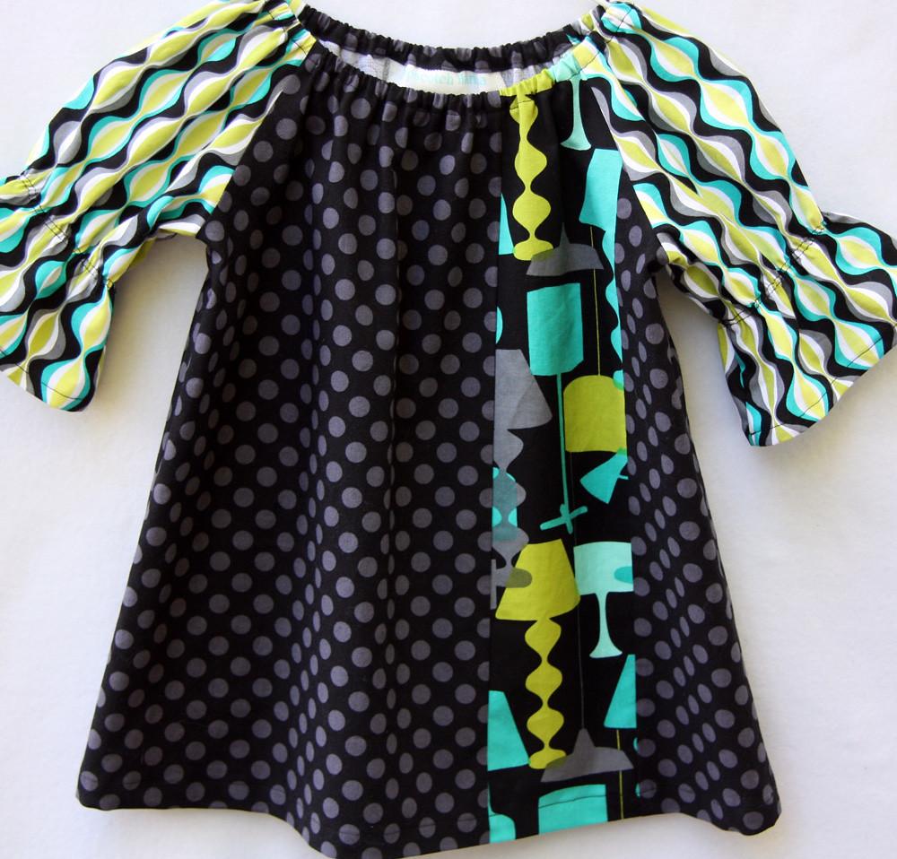 Trendy, retro peasant dress made with Michael Miller designer fabrics