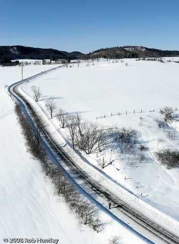 Chemin Cross Loop (and me) - Aerial Winter Road Scene and Self Portrait - Kite Aerial Photography (KAP)