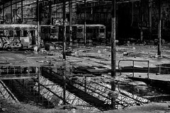 16 (Liam_Charles_Cameron) Tags: light urban blackandwhite bw sun color bus art broken station architecture contrast train dead 50mm graffiti design nikon day tag sydney documentary tram australia warehouse nsw vandalism depot 18 derelict glebe federation rozelle tramdepot adandoned wharehouse d90 18f