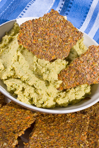 Raw Food: flax crackers and hummus