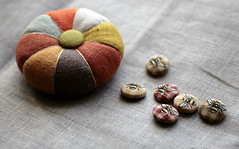 buttons and pin cushion (namolio) Tags: orange pumpkin handmade linen embroidery sewing craft bee fabric covered swap button pincushion scraps embroidered