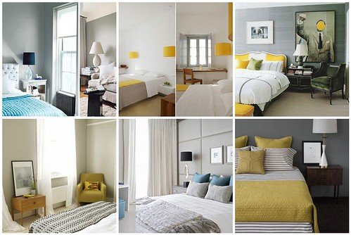 Bedroom Inspiration - gray, yellow & turquoise