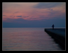 lost in my heart (maios) Tags: travel blue sunset red sea sky cloud sun man color water silhouette port lost greek photo europa europe flickr mediterranean photographer heart notes hellas explore greece macedonia thessaloniki faves fotografia salonica thermaikos manikis maios makedonia iosif  heliography              lostinmyheart   iosifmanikis