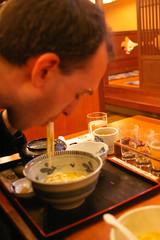 Loren eating noodles, Kizakura Sake Brewery