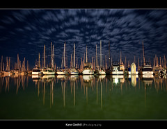 Manly Moon Clouds ([ Kane ]) Tags: sky moon green water night clouds reflections dark boats awesome manly calm explore qld yachts kane gledhill kanegledhill humanhabits kanegledhillphotography