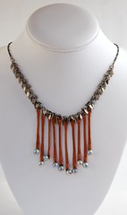Copper Sticks (landscape jewel) Tags: necklace recycled pearls copper wirewrapped silverplated handcraftedjewelry
