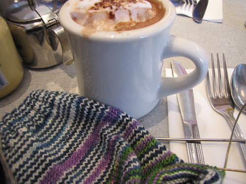 breakfast with my honey. and a sock. and hot chocolate. perfect.