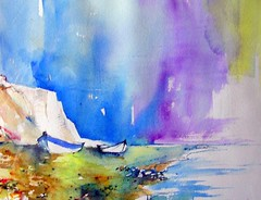 falaises carte de visite (chrisaqua47) Tags: art beach water watercolor painting landscape boat eau aquarelle brush peinture acuarela paysage plage pintura pittura aquarella acquarello akvarell awarela