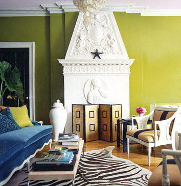 Bright, modern living room: Acid green + white + brown + blue: 'Oregano' by Benjamin Moore by xJavierx