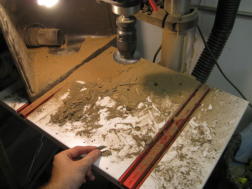 Eucalyptus dust on drill press table