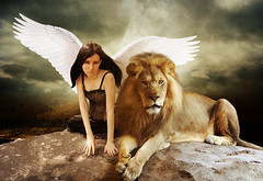 The angel and the lion (Marco Escobedo  Art / Design) Tags: light portrait woman flower colour cute art girl smile face angel digital photoshop dark gold photo nice mujer glamour paint hand graphic retrato extreme gothic lion luna exotic help leon fantasy cabeza dreams change fixed makeover retouch effect desing diosa transformacion gotico maquillaje bauty cirugia coolshot justimagine gotick manipulacin bratanesque memoriesbook theunforgettablepictures alemdagqualityonlyclub alemdaggoldenaward atqueartificia