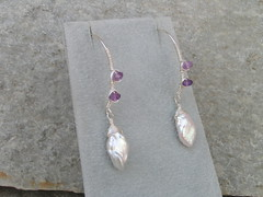 Falling Petals 2 (pippijewelry) Tags: flower silver amber petals wire crystal earring jewelry pearls jewellery pippi pearl sterling earrings amethyst quartz tundra sapphire freshwater keishi wirewrapped finesilver