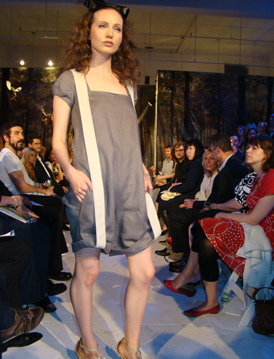 PED Runway Show: Suspender coveralls by Bahar Shahpar