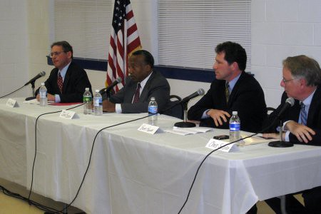 Incumbent Alan Butkovitz, far left at NEastPhilly and WHYYs debate, won the Democratic primary for city controller