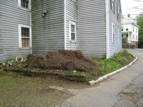 dirt pile that will become a patio